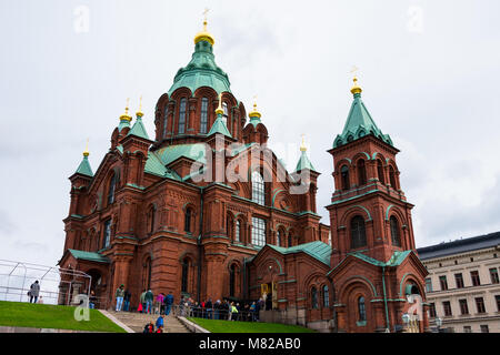 Helsinki, Finland. August 26, 2017. View of the Uspenski Eastern Orthodox Cathedral - Stock Photo
