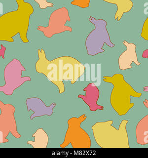 Bunny Seamless Pattern in Pastel Colors. Cute Colorful Bunny Silhouettes. For Easter and Baby Design, Background, - Stock Photo