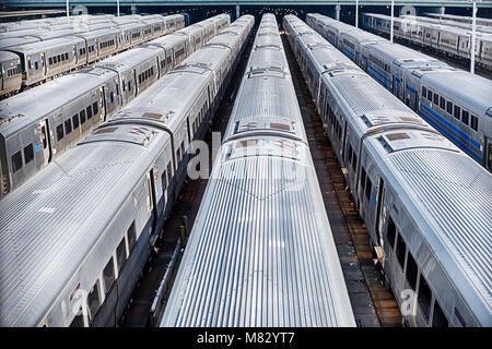 A set of New York City subway trains parked in Hudson Yards wait to be put into service. - Stock Photo