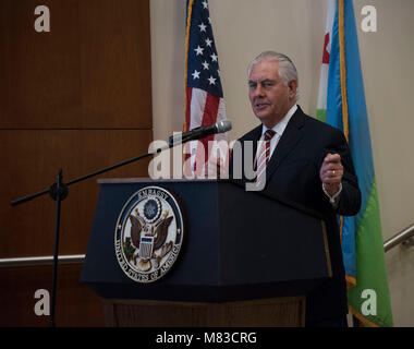 U.S. Secretary of State Rex Tillerson speaks to personnel at the U.S. Embassy, Djibouti, March 9, 2018. Secretary - Stock Photo