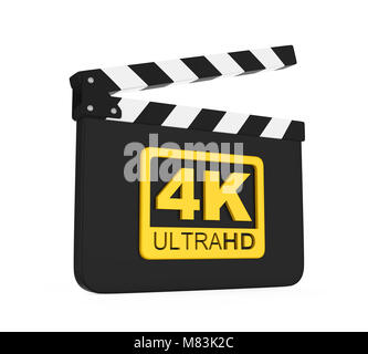 Movie Slate with 4K Ultra HD Icon Isolated - Stock Photo