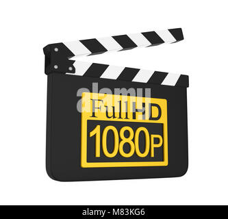Movie Slate with Full HD 1080p Icon Isolated - Stock Photo