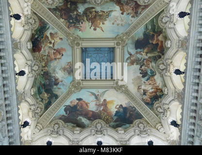 painted ceiling above Grand staircase, Garner Opera House, Paris, France - Stock Photo