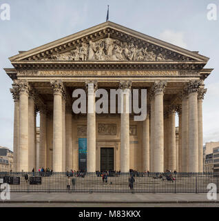 entrance and pediment of the Pantheon, Paris, France - Stock Photo