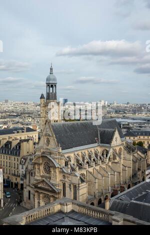 view of Saint-Étienne-du-Mont church, Paris, France - Stock Photo
