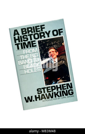 A hardback copy of A Brief History of Time From The Big Bang to Black Holes by Stephen W. Hawking.  First published - Stock Photo