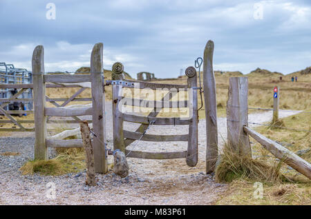 UK, Anglesey, Newborough, 11th March 2018. The iconic gate on Llanddwyn Island. Stock Photo