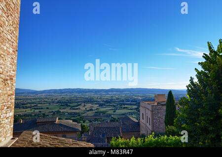 Assisi, Italy 12 August 2016. Panoramic view of Assii. Pathways and stone streets that wind in the historic center - Stock Photo