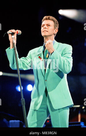 David Bowie performing at The Freddie Mercury Tribute Concert for Aids Awareness, at Wembley Stadium.  Picture taken - Stock Photo