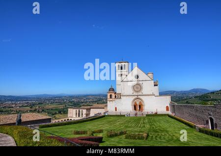 Front view of the Basilica of Saint Francis of Assisi,blue sky. - Stock Photo