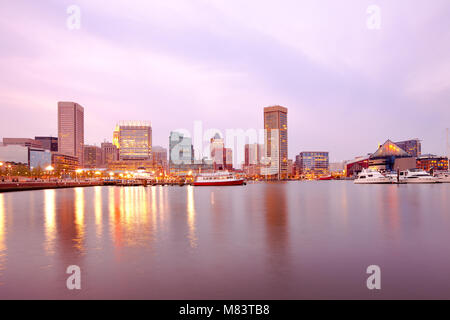 Downtown city skyline and Inner Harbor, Baltimore, Maryland, USA - Stock Photo