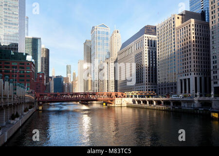 Chicago, Illinois, United States - View of Chicago River in downtown at sunrise. - Stock Photo