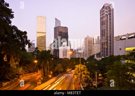 Skyline from the intersection of Cotton Tree Drive and Garden Road, Chung Wan (Central District), Hong Kong Island, - Stock Photo
