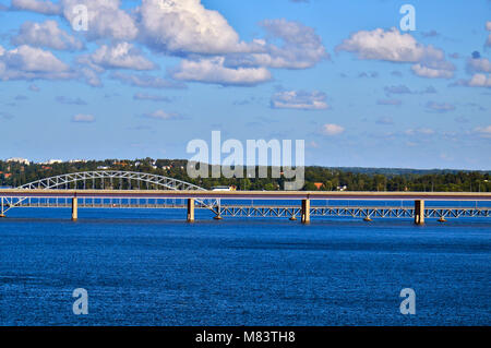 Bridge linking two Swedish islands of Stockholm Archipelago in Baltic Sea, Sweden - Stock Photo