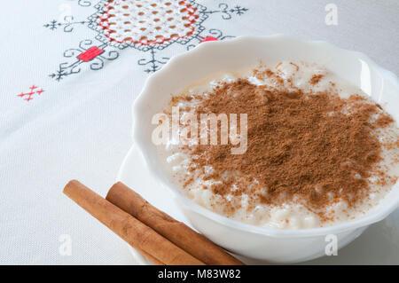 Arroz con leche, typical Asturian dessert. Asturias, Spain. - Stock Photo