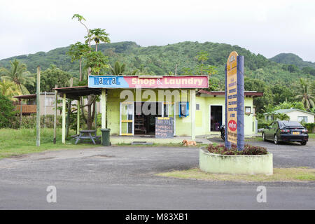 Laundrette and shop on the roadside in Rarotonga the Cook Islands south pacific tropical Island - Stock Photo