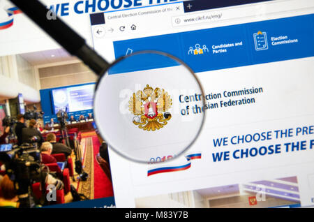 MONTREAL, CANADA - MARCH 13, 2018 : Web site of Central Election Commission of the Russian Federation under magnifying - Stock Photo