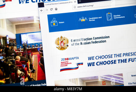 MONTREAL, CANADA - MARCH 13, 2018 : Official site of Central Election Commission of the Russian Federation. The - Stock Photo