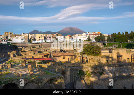 Herculaneum Italy, the town of Ercolano with the ruins of Herculaneum in the foreground. Rearing above both is the - Stock Photo