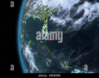 night map of bahamas as seen from space on planet earth 3d illustration elements