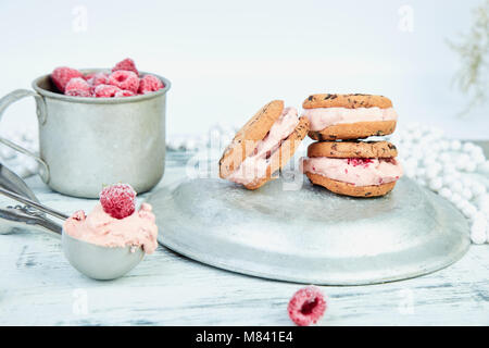 Ice cream sandwiches with strawberry. Summer snack. Dessert - Stock Photo