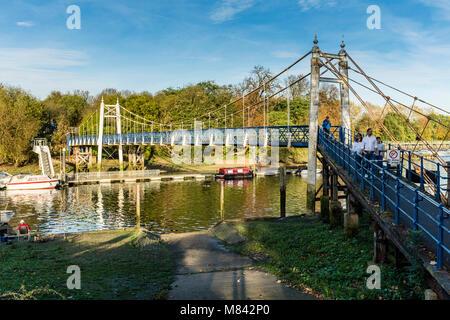 Teddington Lock footbridge over River Thames, UK - Stock Photo