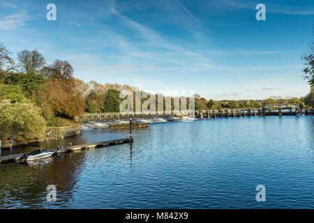 Teddington Weir on River Thames, London Borough of Richmond upon Thames, UK - Stock Photo
