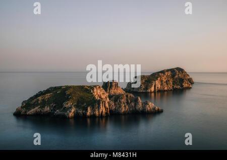 Majorca Santa Ponsa coastline at sunset in Morro d'en Pere Joan bay in Mallorca, Balearic islands of Spain. Es Malgrat - Stock Photo