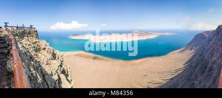 Panorama of La Graciosa island, aerial view from Mirador del Rio in Lanzarote, Canary islands, Spain - Stock Photo