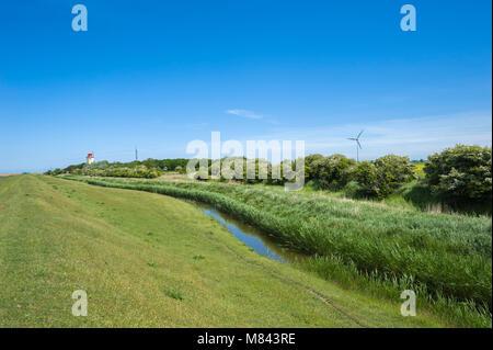 Landscape at the flood embankment, Westermarkelsdorf, Fehmarn, Baltic Sea, Schleswig-Holstein, Germany, Europe - Stock Photo