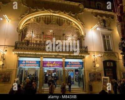 Teatro Politeama theater in Lisbon, Portugal, Europe - Stock Photo