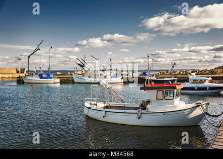 Small harbour in the village of Svanshall, south Sweden. - Stock Photo