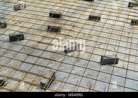 Iron Rebar, ready for concrete to be poured - Stock Photo