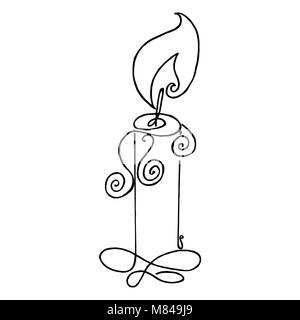Coloring book with a picture of a burning candle. Flame vector illustration. The simple silhouette in black and - Stock Photo
