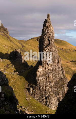 Needle Rock, one of the basalt columns that stands alongside the Old Man of Storr, Isle of Skye, Scotland. Autumn - Stock Photo
