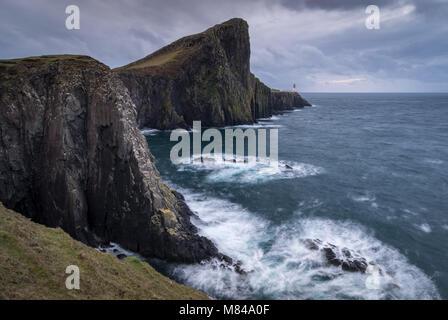 Dramatic cliffs near Neist Point Lighthouse on the west coast of the Isle of Skye, Scotland. Autumn (November) 2017. - Stock Photo