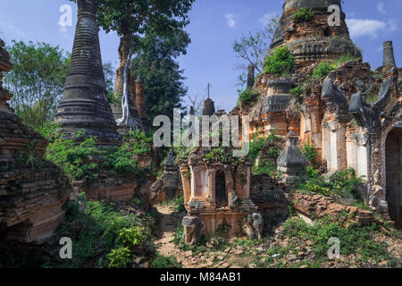 Stupas at Shwe Inn Dein Pagoda, near Inle Lake, Myanmar - Stock Photo