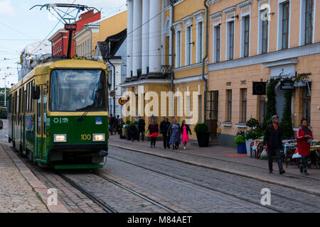 Helsinki, Finland. August 26, 2017. Old tram on Helsinki street. - Stock Photo