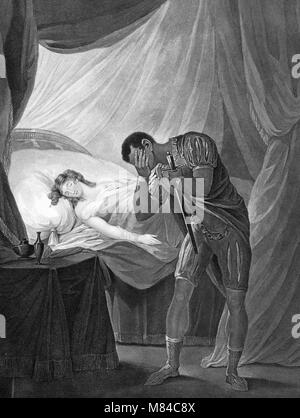 Othello, Act V, Scene II showing Othello with a sword and Desdemona asleep. An engraving by William Satchwell Leney - Stock Photo