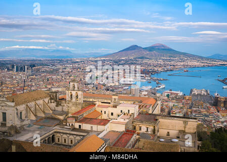 Naples Italy, aerial view of the city and port of Naples with the buildings of the Certosa di San Martino in the - Stock Photo