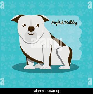 English bulldog dog icon blue over background, colorful design vector illustration - Stock Photo