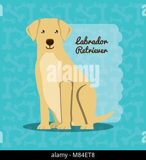 labrador retriever dog icon over background, colorful design vector illustration - Stock Photo