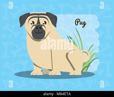 pug dog icon over blue background, colorful design vector illustration - Stock Photo