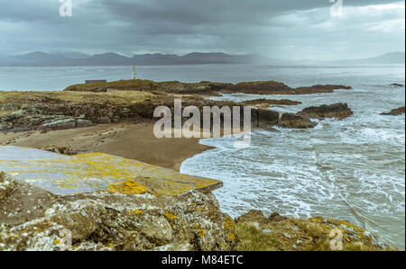 UK, Anglesey, Newborough, 11th March 2018. A view of Llanddwyn Island. Stock Photo