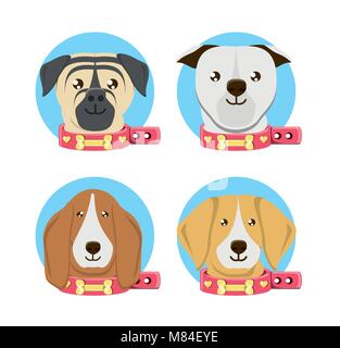 Icon set of cute dogs of different breeds over white background, colorful design vector illustration - Stock Photo