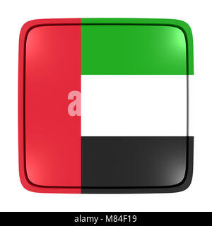 3d rendering of an United Arab Emirates flag icon. Isolated on white background. - Stock Photo