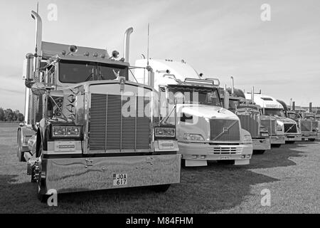 ALAHARMA, FINLAND - AUGUST 11, 2017: Classic conventional Kenworth, Volvo and Peterbilt trucks on display on Power - Stock Photo