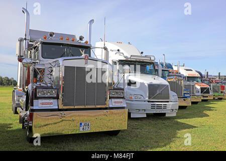 ALAHARMA, FINLAND - AUGUST 11, 2017: Classic conventional Kenworth, Volvo and Peterbilt trucks on display on Power - Stock Photo