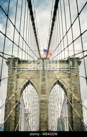Retro stylized picture of the Brooklyn Bridge, New York City,USA. - Stock Photo