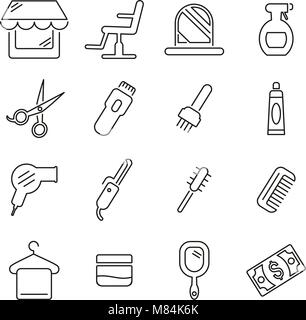 Hair Salon or Hairdressing Salon & Equipment Icons Thin Line Vector Illustration Set - Stock Photo
